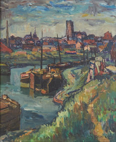 Yvonne Deldicque (1895-1977) - Bethune landscape with barges