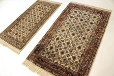 Two beautiful hand-knotted oriental carpets, Indo Bidjar, 70 x 135 cm and 90 x 160 cm, made in India at the end of the 20th century