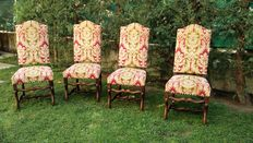 Four large wooden chairs upholstered with velvet fabric - 20th century - Louis XIII style