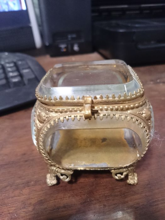 French jewellery box - Cut glass and metal