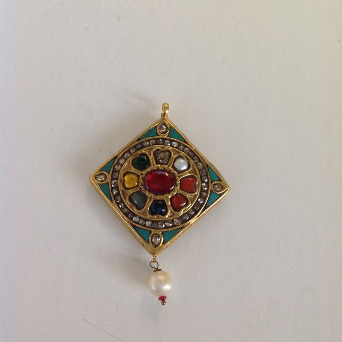 Navaratna gold pendant india old 22 ct gold and real stones navaratna gold pendant india old 22 ct gold and real stones aloadofball Image collections