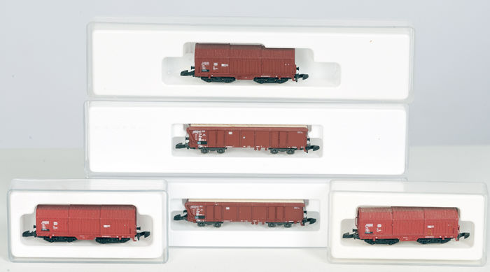 Märklin Z - 8635/8668 - 5 freight carriages of the DB, telescope wagons