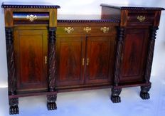Rare American Regency Neo Classical carved mahogany sideboard Circa 1830 attributed to Anthony Quervelle