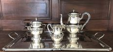 Complete silver plated metal tea service, Gallia collection, Christofle, Paris, hallmarks 1900 - 1937
