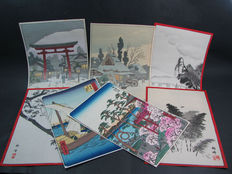 A lot of 7 scenic woodblock prints - Japan - 2nd half of the 20th century.