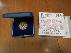 Republic of Italy – 50 Euro, 2012 'Fauna nell'Arte – Medioevo' (Animals in Art: Middle Ages) – gold