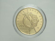 "Republic of Italy – 20 Euros, 2007 – ""Europa delle Arti – Irlanda"" (""Europe of Arts – Ireland"") – Gold"