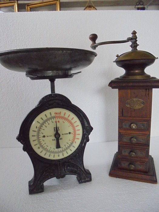 Two antique kitchen appliances A high wooden coffee grinder ...