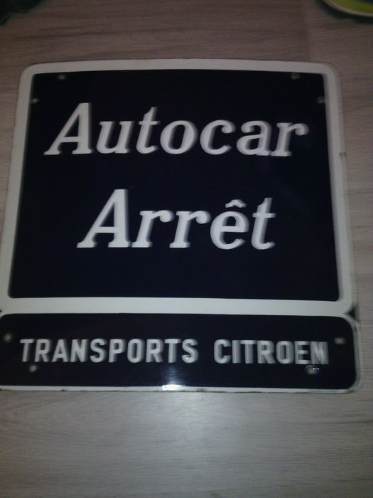 Citroën - Bus stop  - real enamelled sign - 50 x 50 cm - around 1970