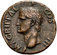 Roman Empire - AE As of Agrippa, died 12 B.C., minted in Rome around 14-41 A.D./Ex. col. Lückger