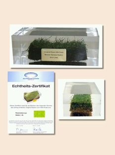 Original turf of the Olympiastadion in Berlin, of the 2006 World Cup Final Italy-France, with certificate of authenticity.