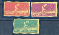 URUGUAY 1924 Olympic Games, on yellow cart Ivert e T. n.281-283