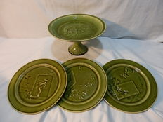 Hippolyte Boulenger / Choisy-le-Roi -  Antique Monocromatic Green Set Faïence de of 4 pieces