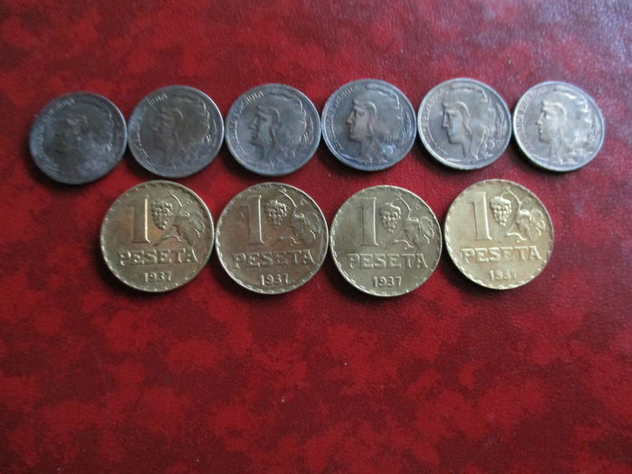 Spain, 10 coins of Spanish Republic, Spanish Civil War