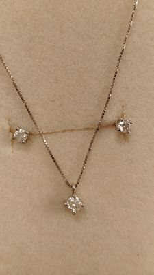18 kt white gold set and brilliant cut diamonds for 0.19 ct, length: 45 cm