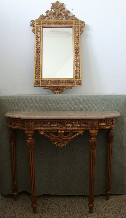 A giltwood marble top console table and mirror in Louis XVI style, 20th century