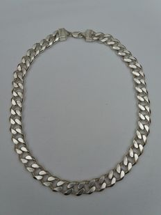 Large solid heavy silver curb link chain