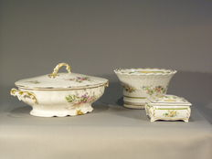 A set of limoges porcelain: terrine with lid, box with lid and a bowl, France, early 20th century