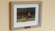 Usain Bolt - Olympic Legend 100 and 200 m - Beautiful autographed framed photo with original signed + COA.