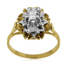 Retro-Style White and Yellow Gold 18kt Diamond 'Entourage' Ring