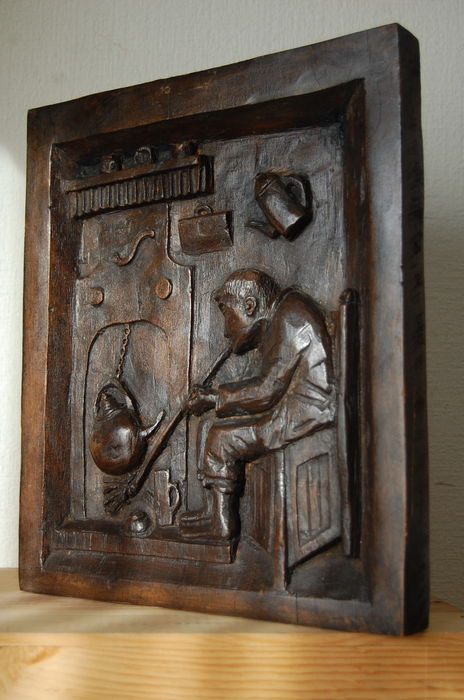 Man at fireplace - wood relief plaque - Belgium - 19th century