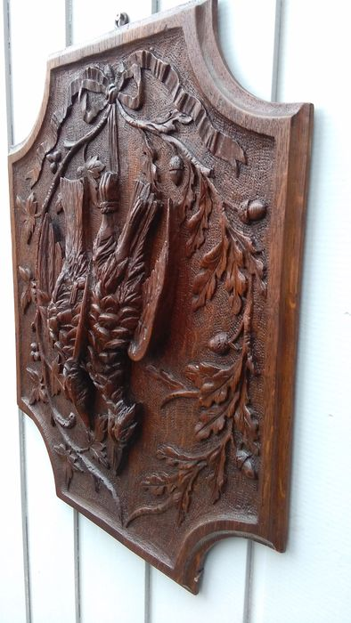 Antique oak carved hunting tableau france late th