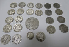 Venezuela. Lot of 25 silver coins.