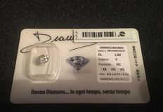 Certified natural diamond, sealed in blister pack, 1.02 ct. 1.02 ct – F/SI1.