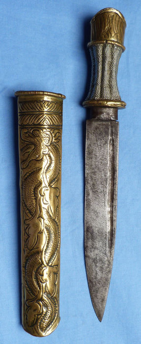 19th Century Bhutanese Dagger and Scabbard