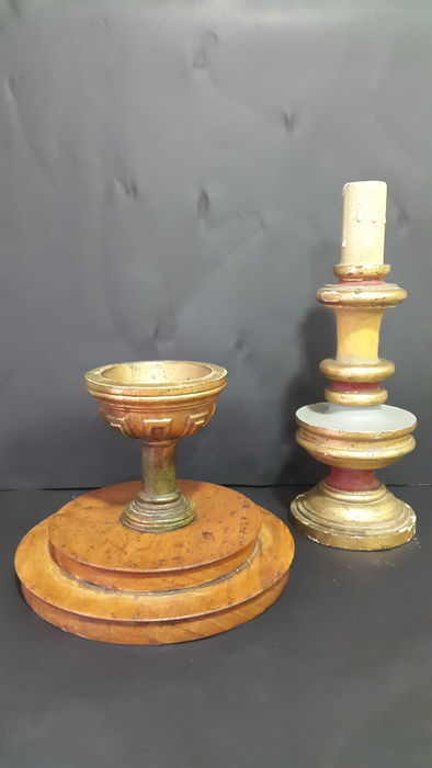 Gilded Libation Chalice and Candlestick from the 19th Century
