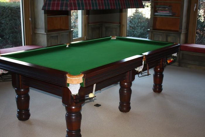 Superb Beautiful Hard Wooden Pool Table Including Cues And Lighting Catawiki Beutiful Home Inspiration Xortanetmahrainfo