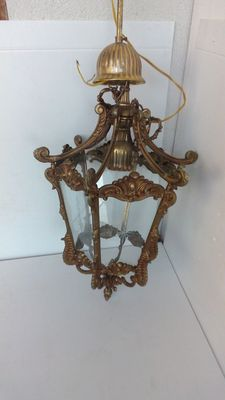 A Louis XV style brass hall lantern, France, mid 20th century