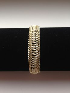 14 kt gold double gourmet link bracelet, wide model, new condition