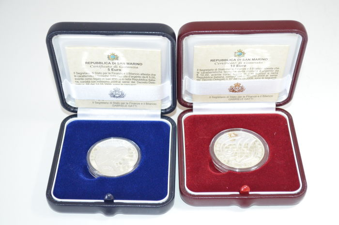 San Marino – 5 Euro 2009 '400 years of Astronomia Nova' + 10 Euro 2009 '10 Years EU' – silver