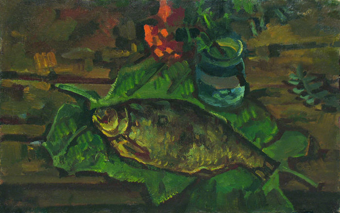 Vasily Belikov - Still life with fish on the leaves