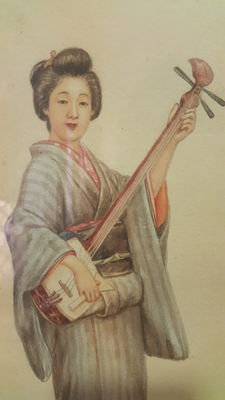 Original signed Watercolor of the Painter Tsutaya Ryuko - Japan - 1868-1933