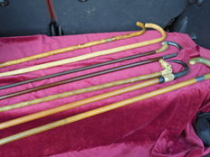Plot with 6 various walking sticks + 1 x horse dressage whip -origin several countries - ca 1920/1950