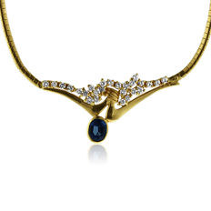 Set consisting of a Necklace and a Bracelet in 18k Gold, 2ct Diamond and synthetic blue stone - Length 18 & 42 cm