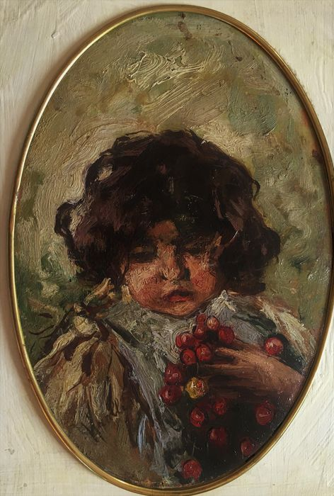 Attribuitable to Vincenzo Irolli (Naples 1860-1949) - Girl with cherries