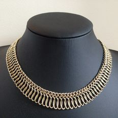 Double curb link necklace made of 14 kt gold, neck jewellery