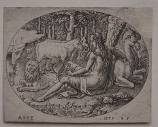 Three etchings by Etienne Delaune (1518-1595) - Asia from the series 'Continent' - Luna from the series 'Planets' and Eliezer meets Rebecca - circa 1575