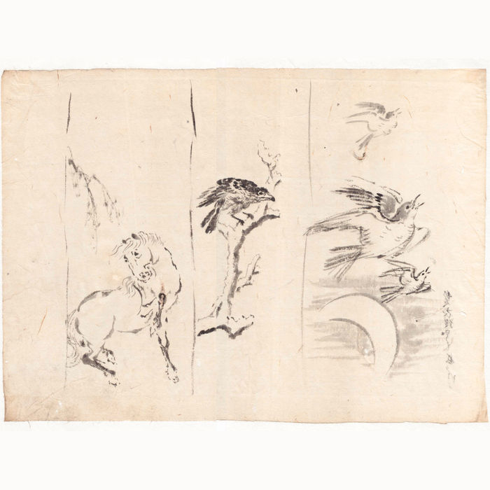 "Large, original drawing ""Horse and Birds"" with black ink and paintbrush, made by the Hokusai school – Japan – from around 1850/1860."