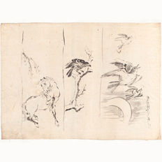 """Large, original drawing """"Horse and Birds"""" with black ink and paintbrush, made by the Hokusai school – Japan – from around 1850/1860."""