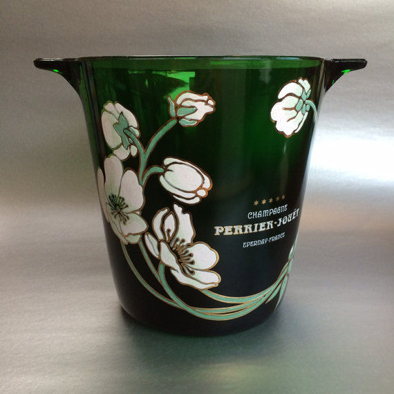 A green hand-painted champagne cooler, Perrier-Jouët, France, mid-20th century