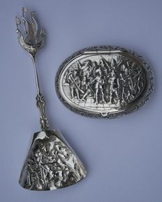 "A silver scoop and box with ""the Nachtwacht"", Netherlands, 20th century"