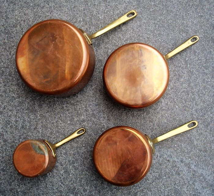 Set copper pots - second half of the 20th century