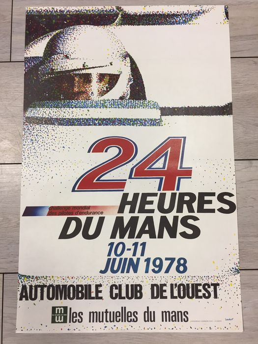 Original poster of the 24 hours of Le Mans 1978 - 40 x 60 cm - designed by Lardot