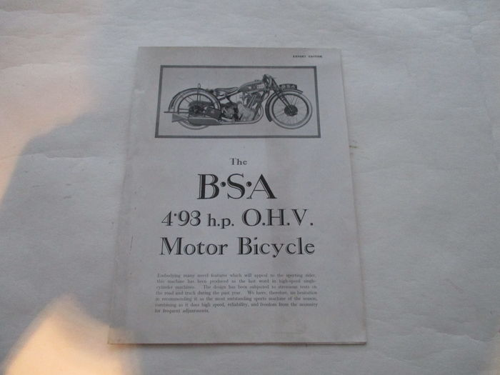 BSA - Original old folder BSA 493 OHV motorcycle - circa 1930