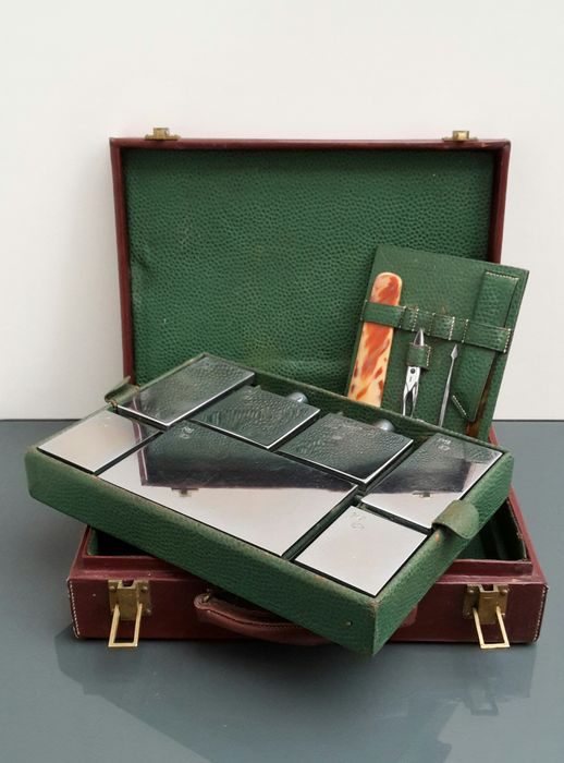 Nice leather toiletries travel case with accessories, France, first half of 20th century