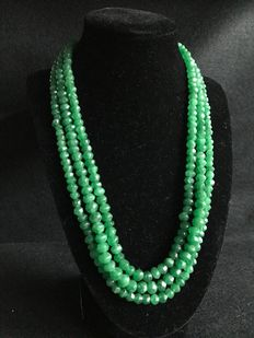 Necklace with three strands of faceted emeralds – 391 ct
